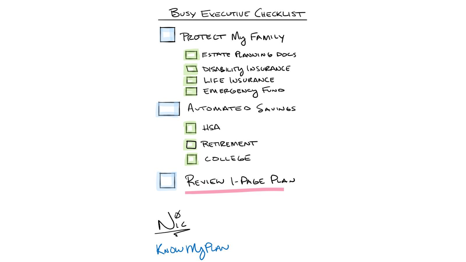 busy executive checklist